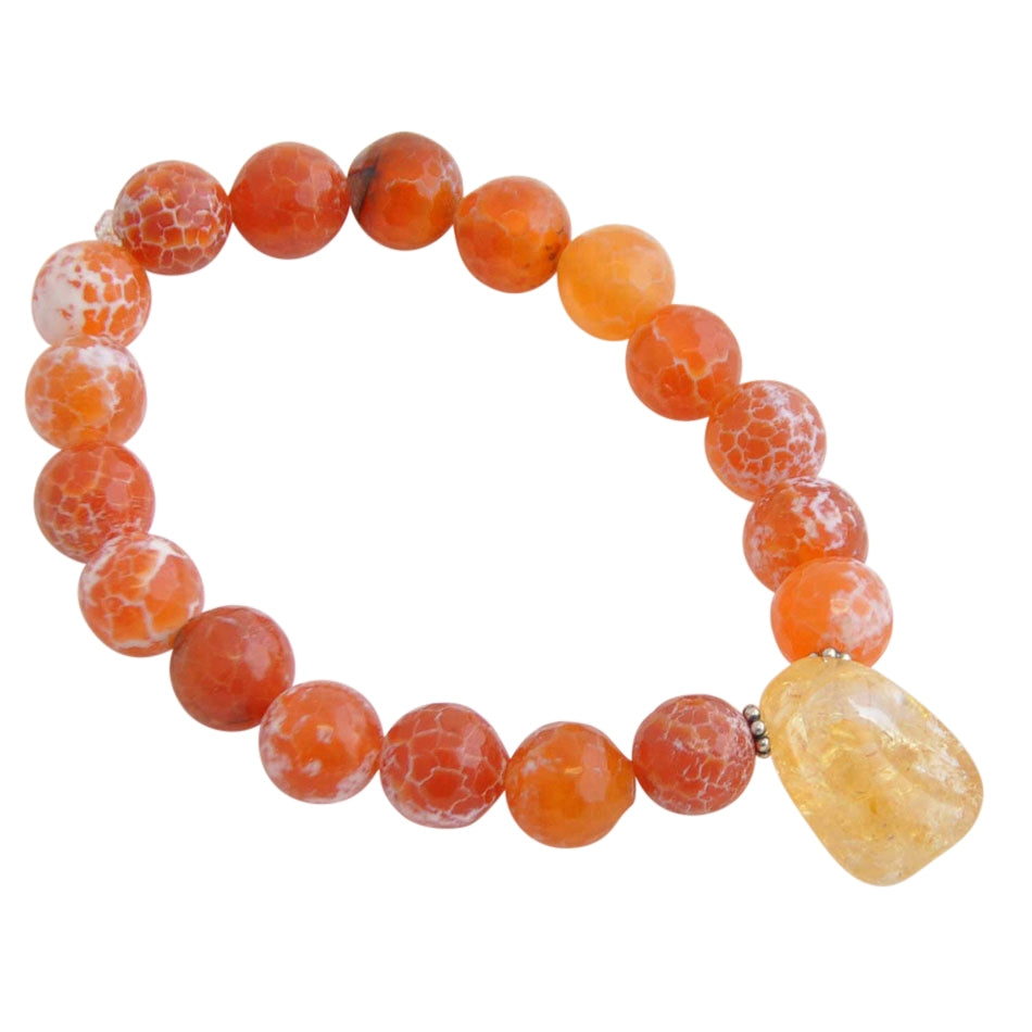 Carnelian and Citrine Stretch Bracelet