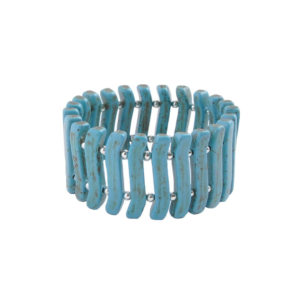 Wave on Waves Turquoise  Stretch Bracelet