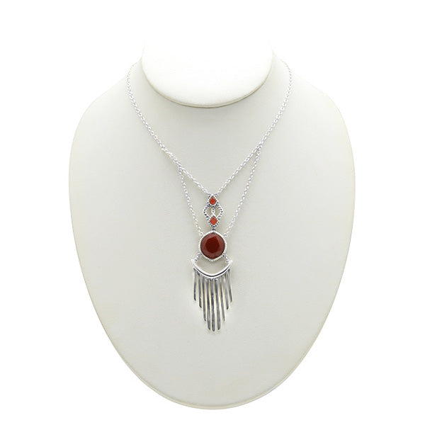 Carnelian and Silver Jabot Necklace