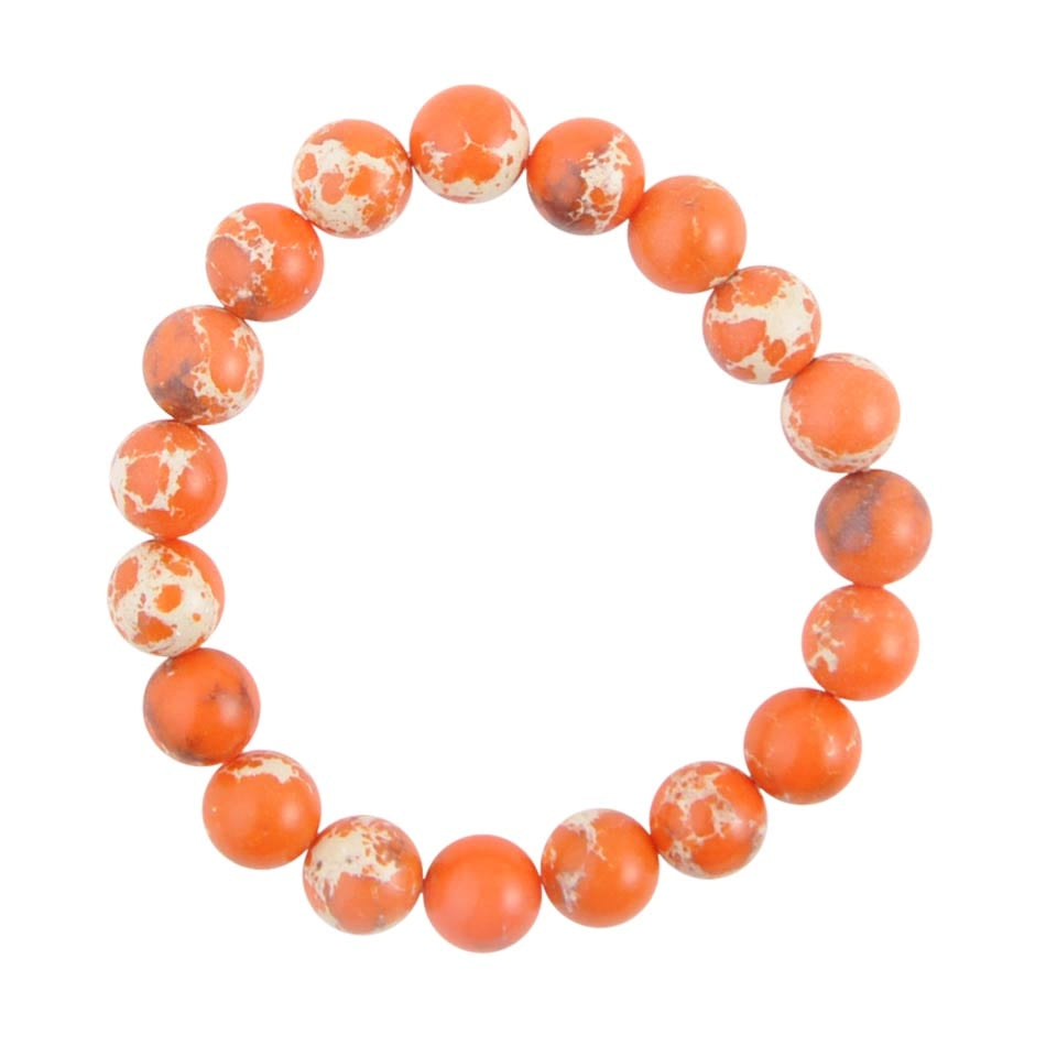 Polished Bead Bracelet-Orange Jasper