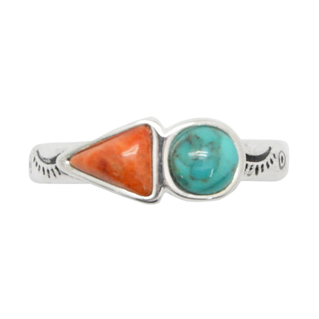 Turquoise and Coral Duo Ring