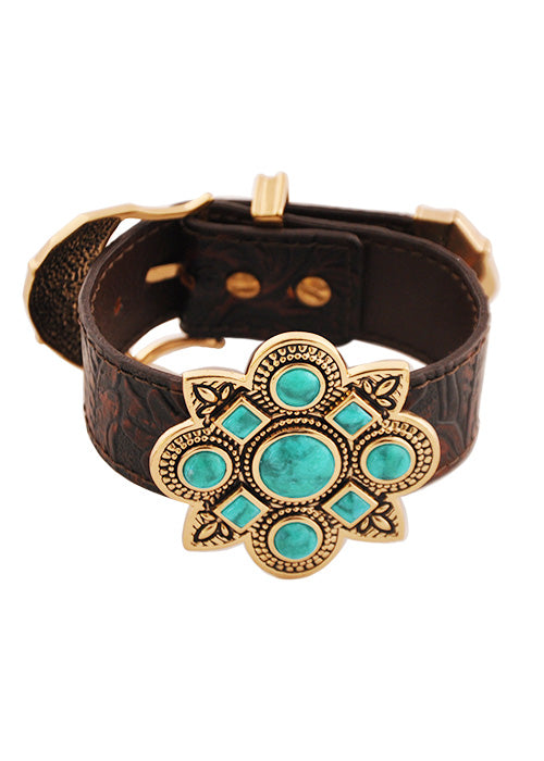Leather and Stone Buckle Bracelet-Turquoise