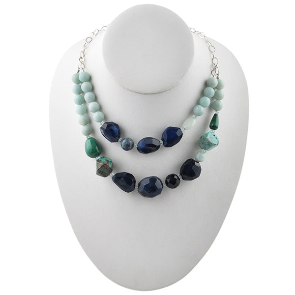 Two Blue Stone Necklace