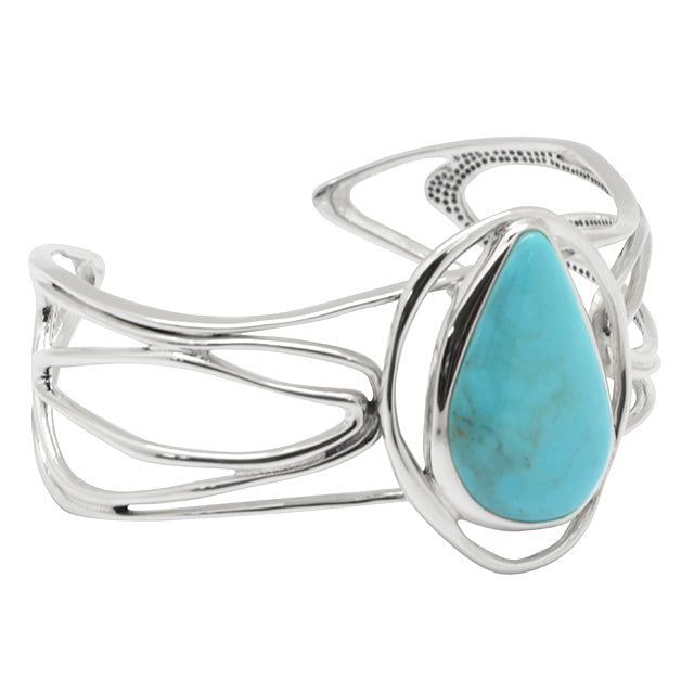 Silver Willow Blue Turquoise Bracelet