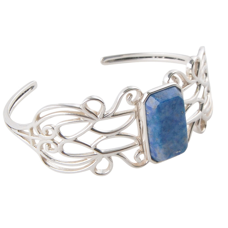 Sterling and Denim Lapis Cuff Bracelet