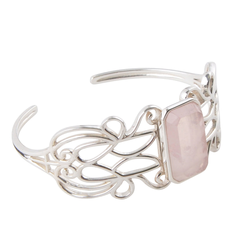 Sterling and Rose Quartz Cuff Bracelet