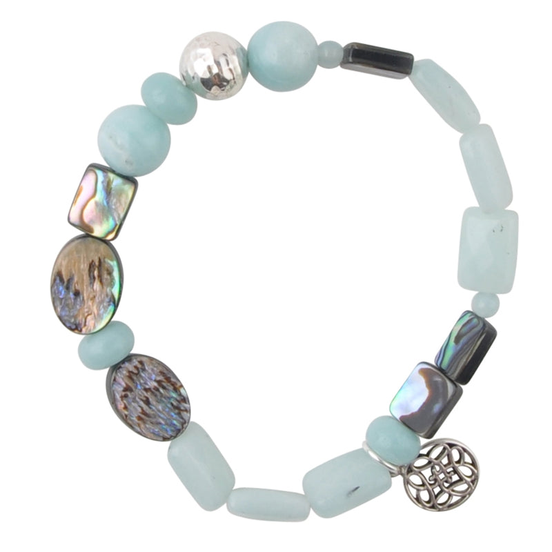 Ocean Stretch Bracelet-Amazonite, Abalone and Sterling Silver