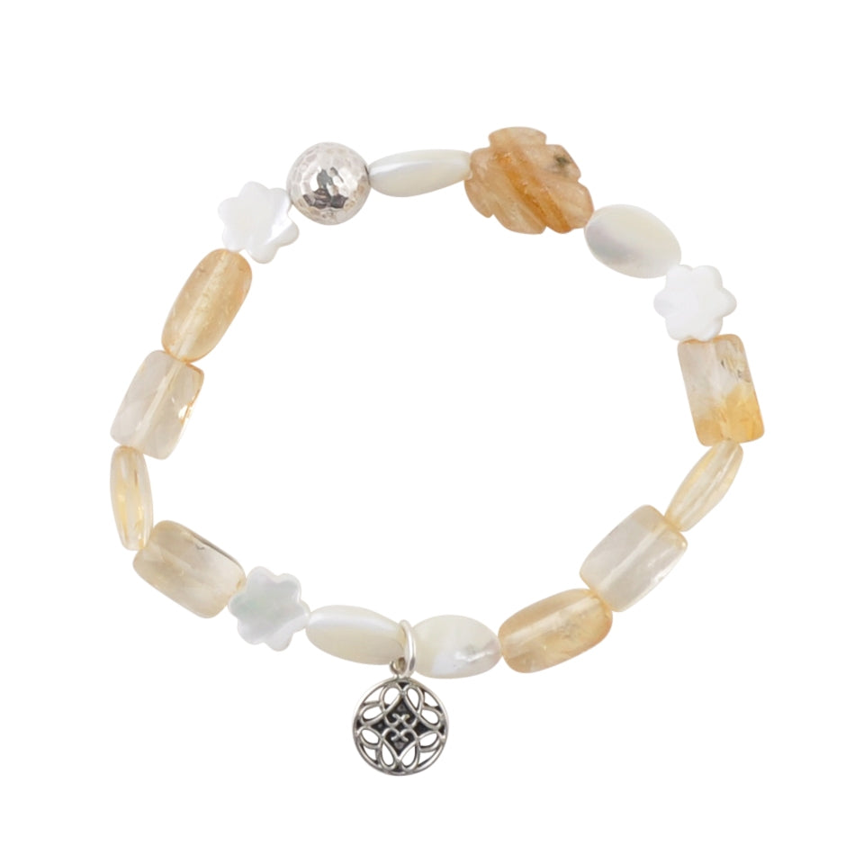 Moonlight Stretch Bracelet-Mother of Pearl and Citrine