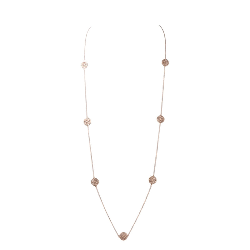 Scroll Station Necklace-Rose Gold Vermeil