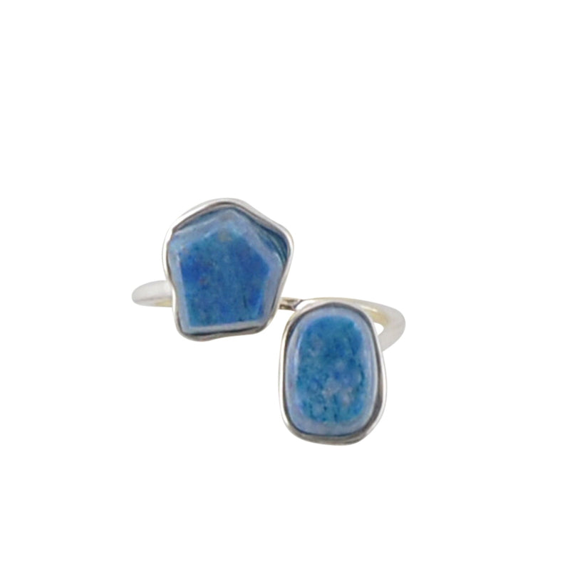 Two's Company Stone and Sterling Ring-Denim Lapis
