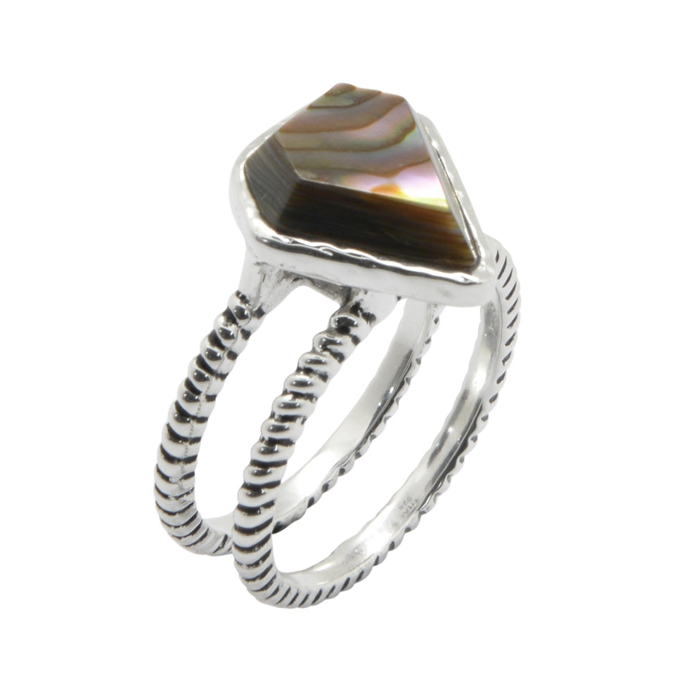 Abalone Double Band Ring