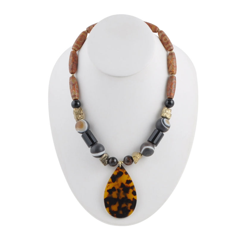 Onyx and Tortoise Drop Necklace