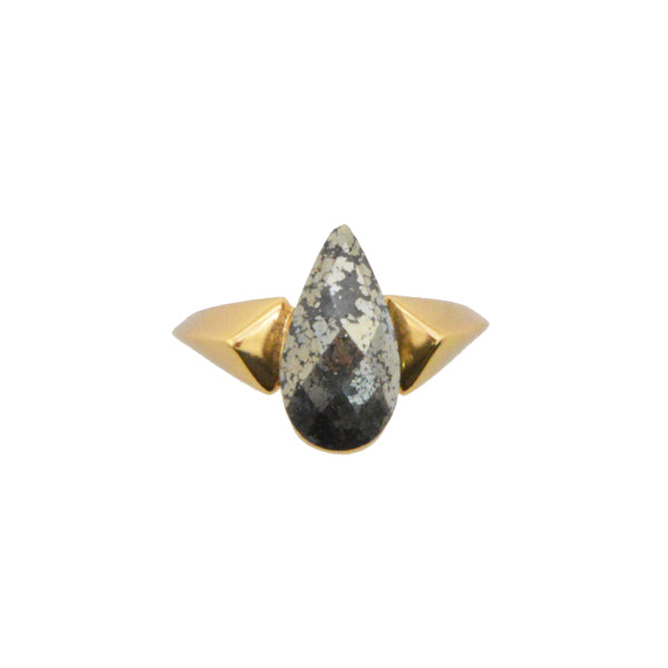 Fiery Pyrite and Bronze Ring