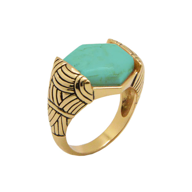 Turquoise and Bronze Signet Ring