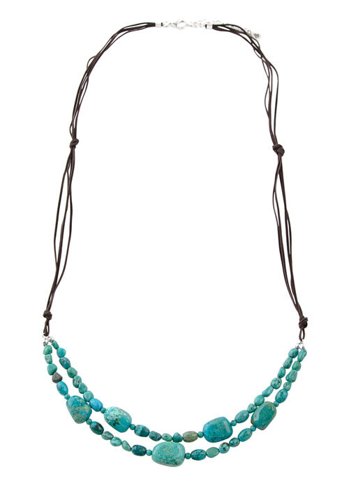 Casual Friday Turquoise and Leather Necklace