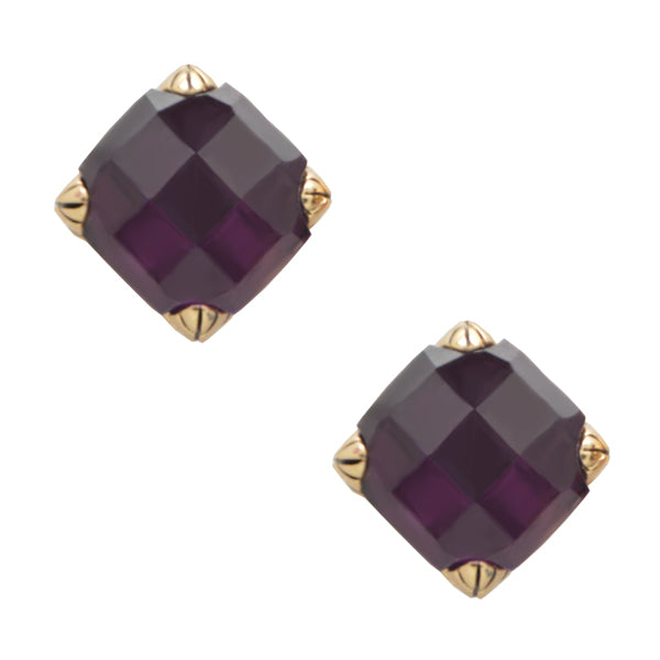Faceted Post Earring- Amethyst and Bronze