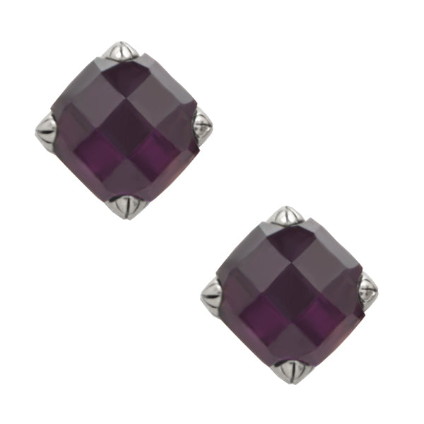 Faceted Post Earring- Amethyst and Silver