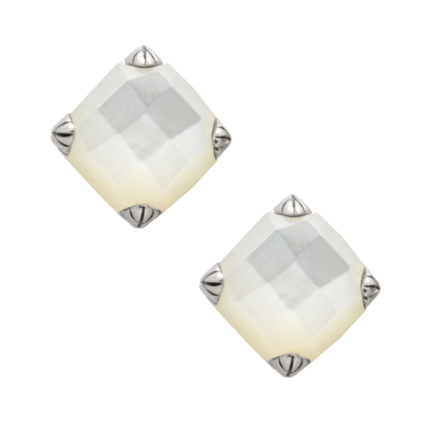 Faceted Post Earring- Mother of Pearl and Silver