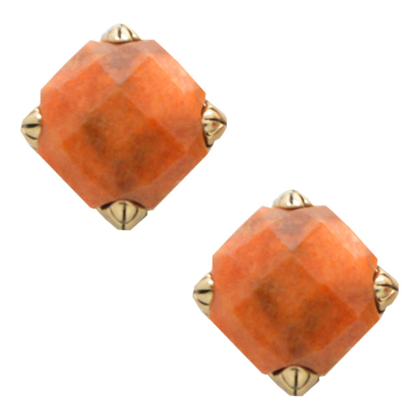 Faceted Post Earring- Orange Sponge Coral and Bronze