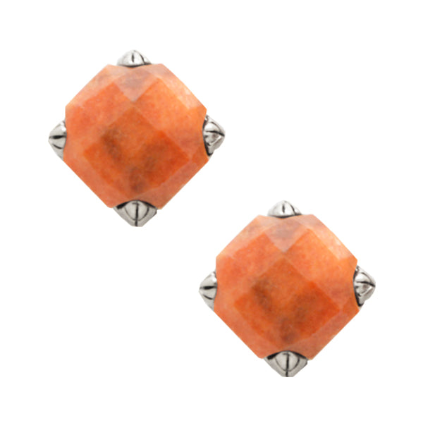 Faceted Post Earring- Orange Sponge Coral and Silver