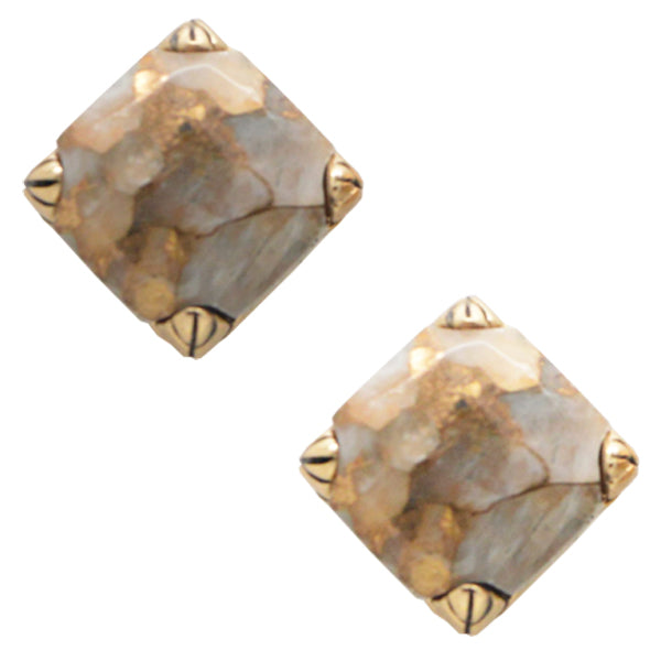 Faceted Post Earring- White Calcite and Bronze