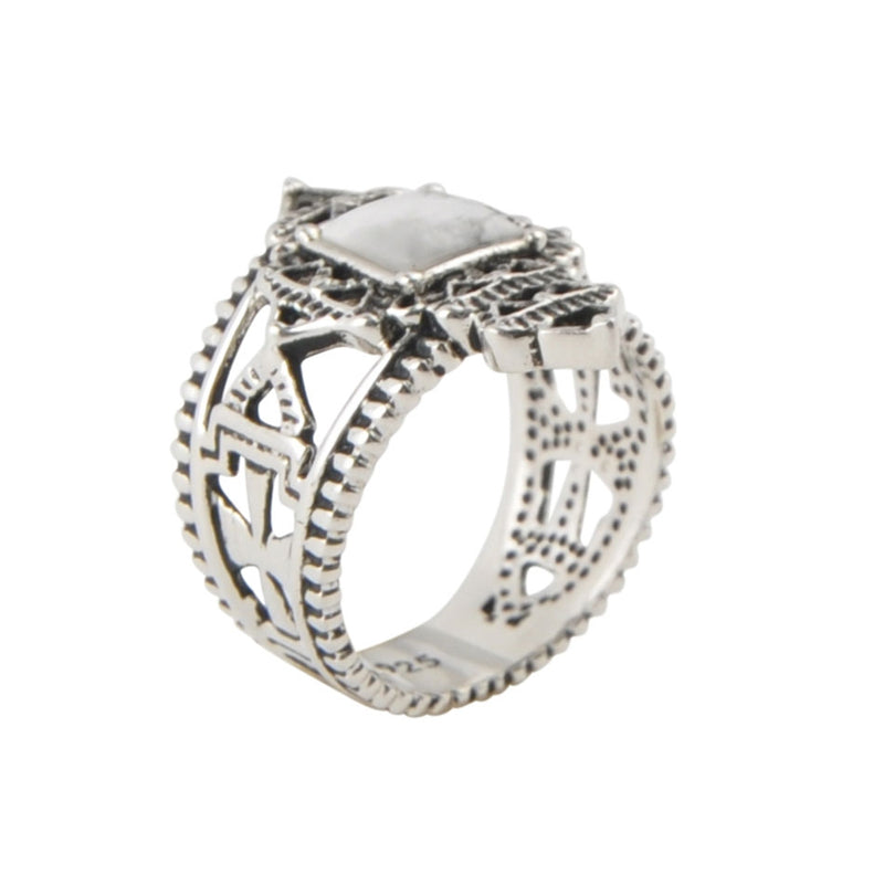 Coptic Cross Ring-White Howlite