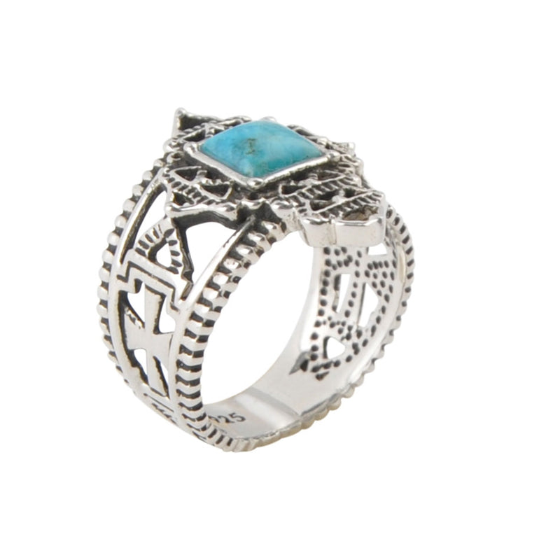 Coptic Cross Ring-Turquoise
