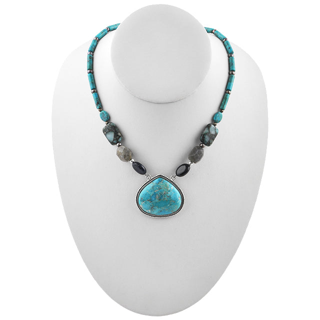 Corinth Turquoise and Multi-Stone Necklace