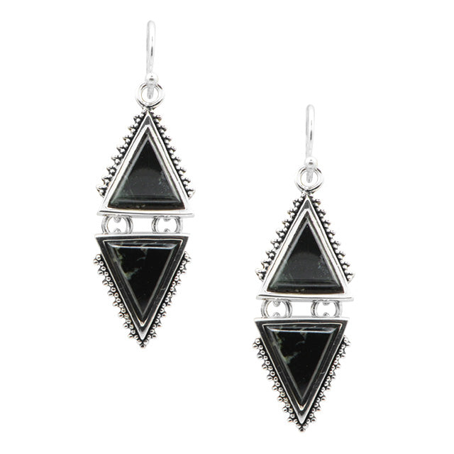 Point Taken Black Jade Earring