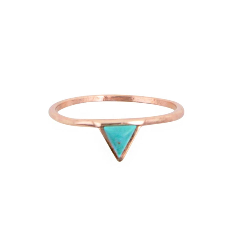Turquoise Triangle Copper Ring