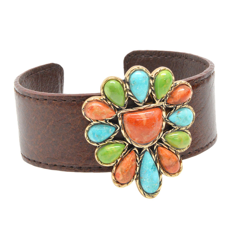 Horizon Stone and Leather Cuff Bracelet