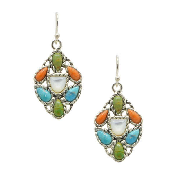 Color Cache Stone and Silver Earring