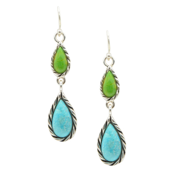 Graduated Two Turquoise Earring-Sterling Silver