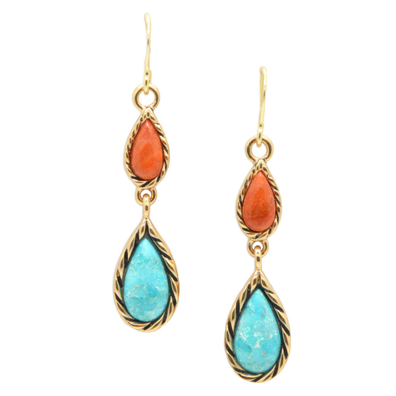 Graduated Turquoise and Coral Earring-Bronze