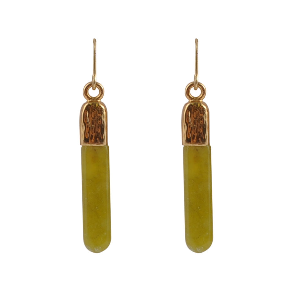 Apple-y Ever After Green Jasper Earring- Bronze