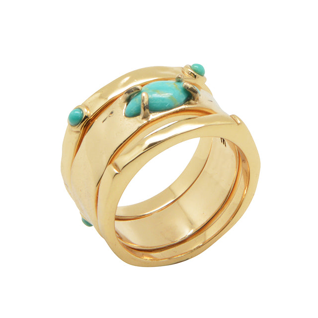 Bronze and Turquoise Trio Stack Ring