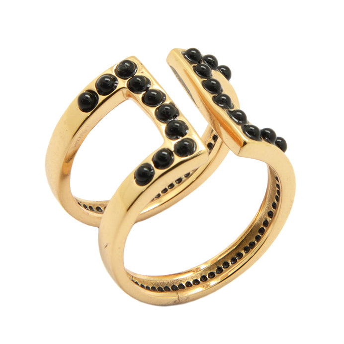 Rock Band Ring- Bronze and Onyx