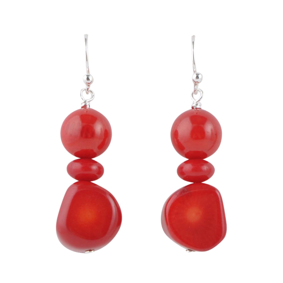 Red Coral Beaded Earring