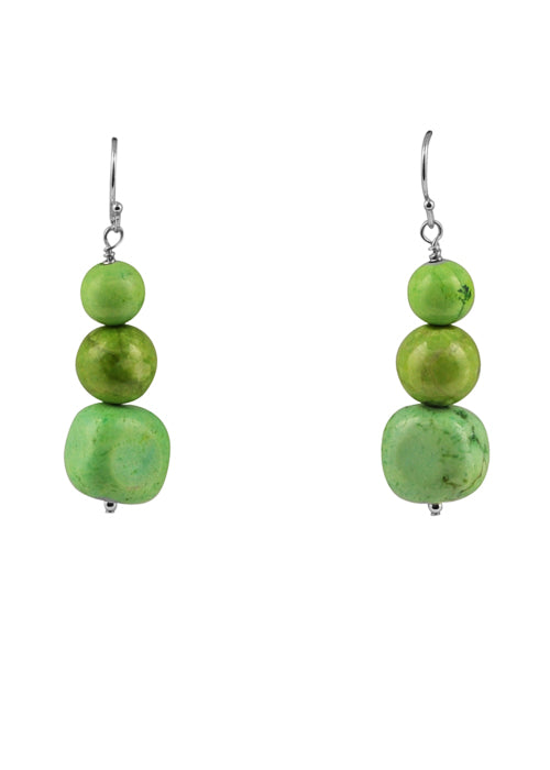 Lime Green Howlite Beaded Earring