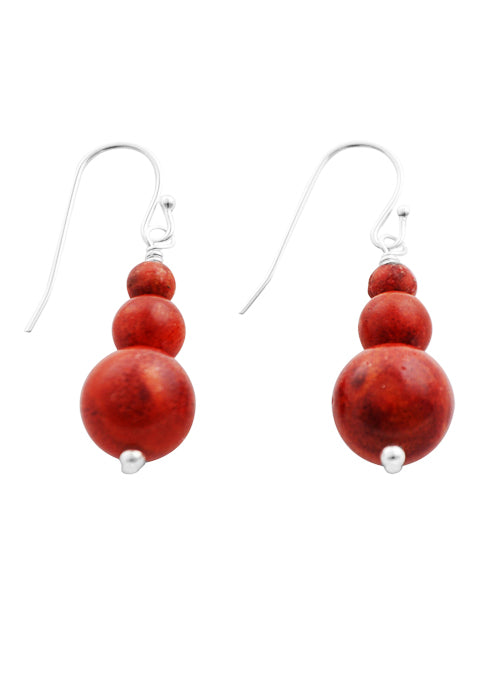 Orange Coral Beaded Earring