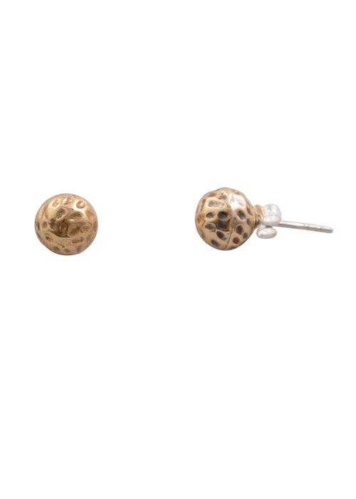 Hammered Stud Earring-Bronze