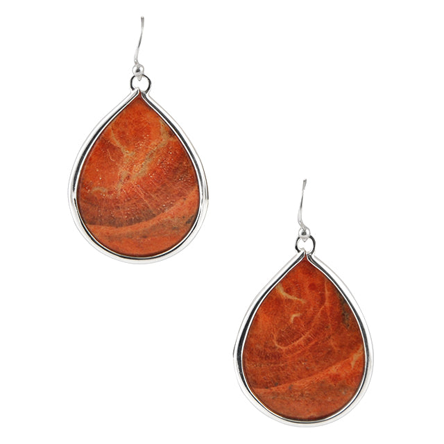 Orange Sponge Coral Droplet Earring