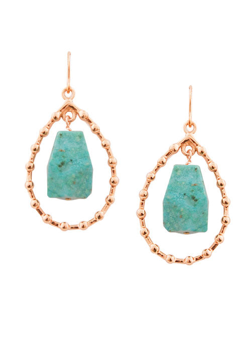Bronze Droplet Earring-Turquoise