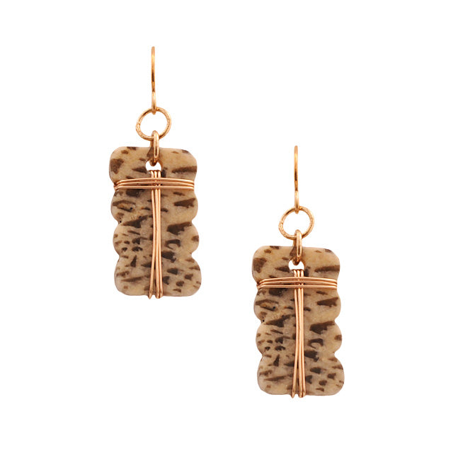 Wrapped Wire and Feldspar Earring