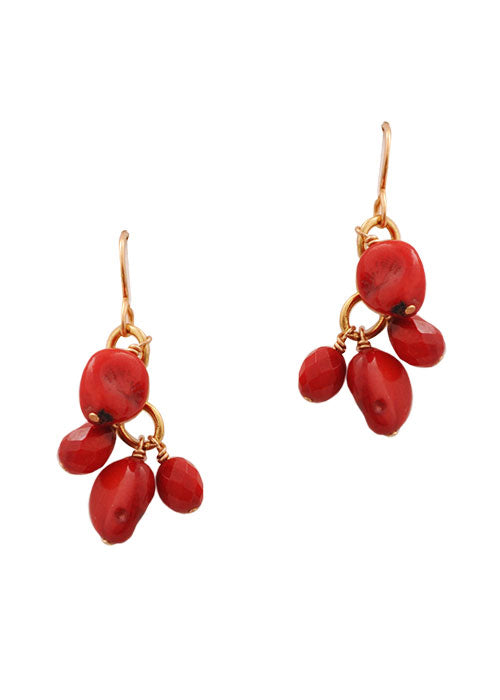 Red Coral Drops Earring