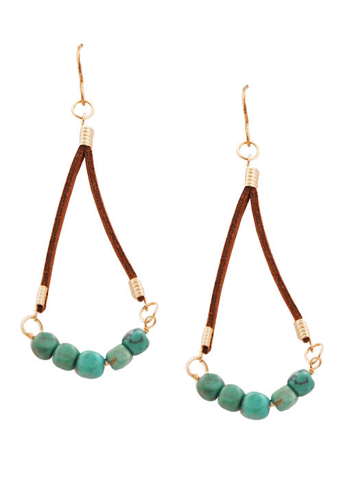 Leather and Turquoise Earring