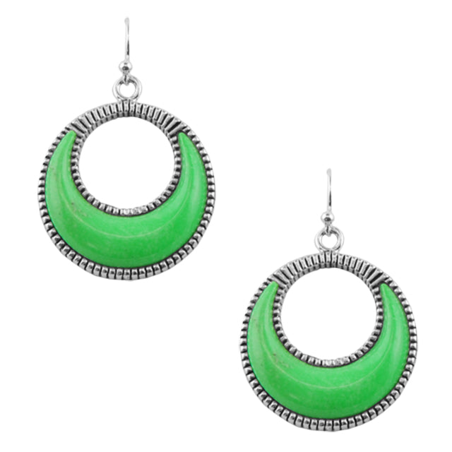 Slice of Lime Turquoise Silver Earring