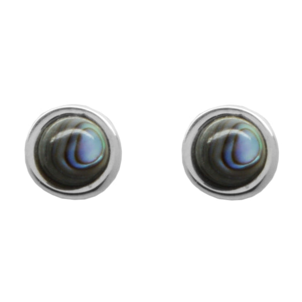 Stone Dot Earring-Abalone and Silver