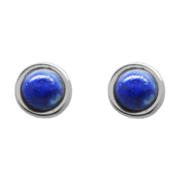 Stone Dot Earring-Lapis and Silver