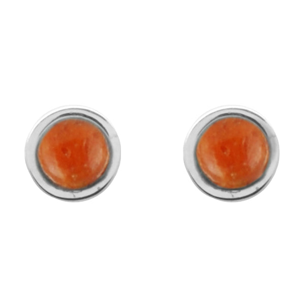 Stone Dot Earring-Orange Sponge Coral and Silver